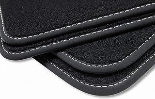 teileplus24 V363 Velours Fußmatten, passgenaue Fertigung, Trittschutz auf der Fahrer Fußmatte, Nubuk Bandeinfassung, Ziernähte, Naht:Silber