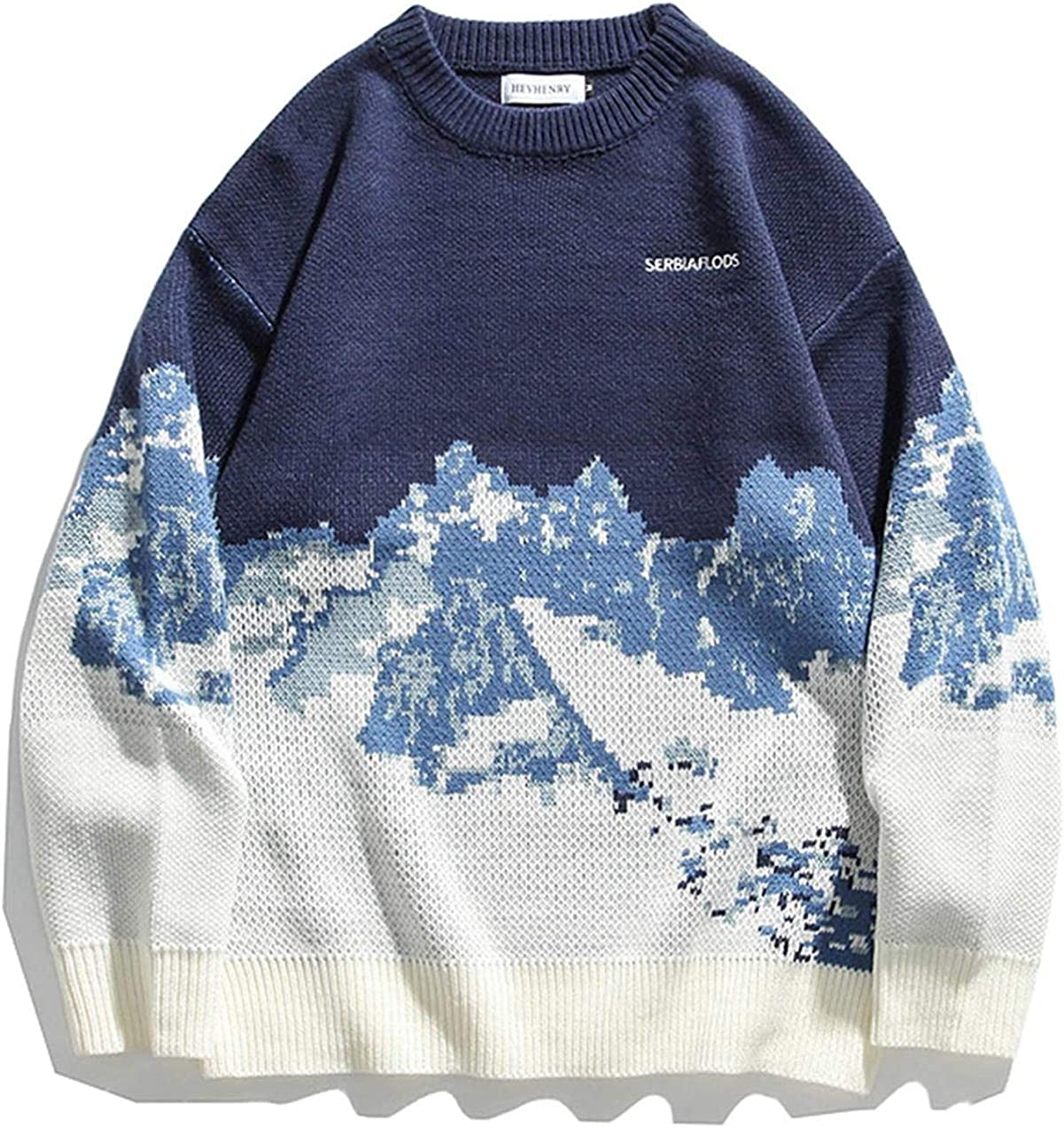Mens Knit Columbus Mall Max 69% OFF Sweaters Streetwear Winter Unisex Patch Couple Vintage