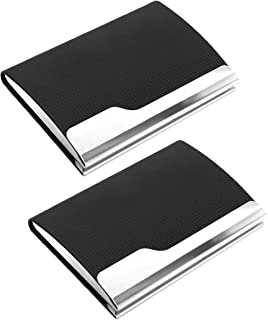DAHSHA 2 Pack Imported PU Leather Business Visiting Card Case Wallet Debit Credit Card Holders- Black
