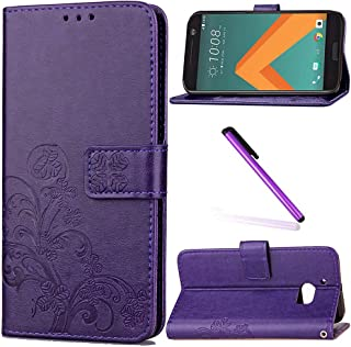 HTC 10 Case,HTC One M10 Case,HTC M10 Case,LEECOCO Embossed Lucky Clover Floral with Card Slots Magnetic Flip Stand PU Leather Wallet Case for HTC 10 with 1 x Stylus Pen