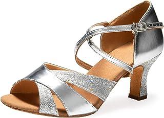 "Ballroom Dance Shoes Women 2.56"" Dancing High Heel Salsa Shoe LAT."