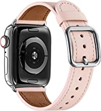 MNBVCXZ Compatible with Apple Watch Band 38mm 40mm 42mm 44mm Women Men Girls Boys Genuine Leather Replacement Strap for iWatch Series 5 4 3 2 1 Sport and Edition (Pink Sand/Silver, 38mm 40mm)