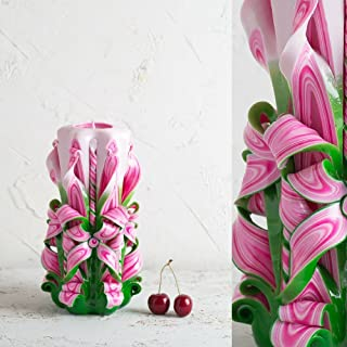 Candela Decorativa Intagliata a Mano - Rosa Verde e Bianco - Idee Regalo per il Compleanno da Donna - EveCandles
