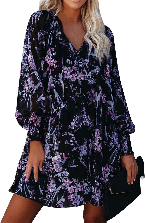 Womens Dresses Casual V Neck Floral Boho Long Puff Sleeve Ruffle Flowy Shift Sundresses