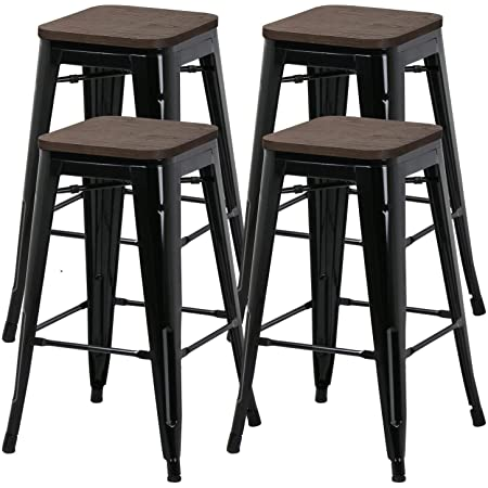 Amazon Com Yaheetech 26inch Barstools Set Of 4 Counter Height Metal Bar Stools Indoor Outdoor Stackable Bartool Industrial With Wood Seat 331lb Black Furniture Decor