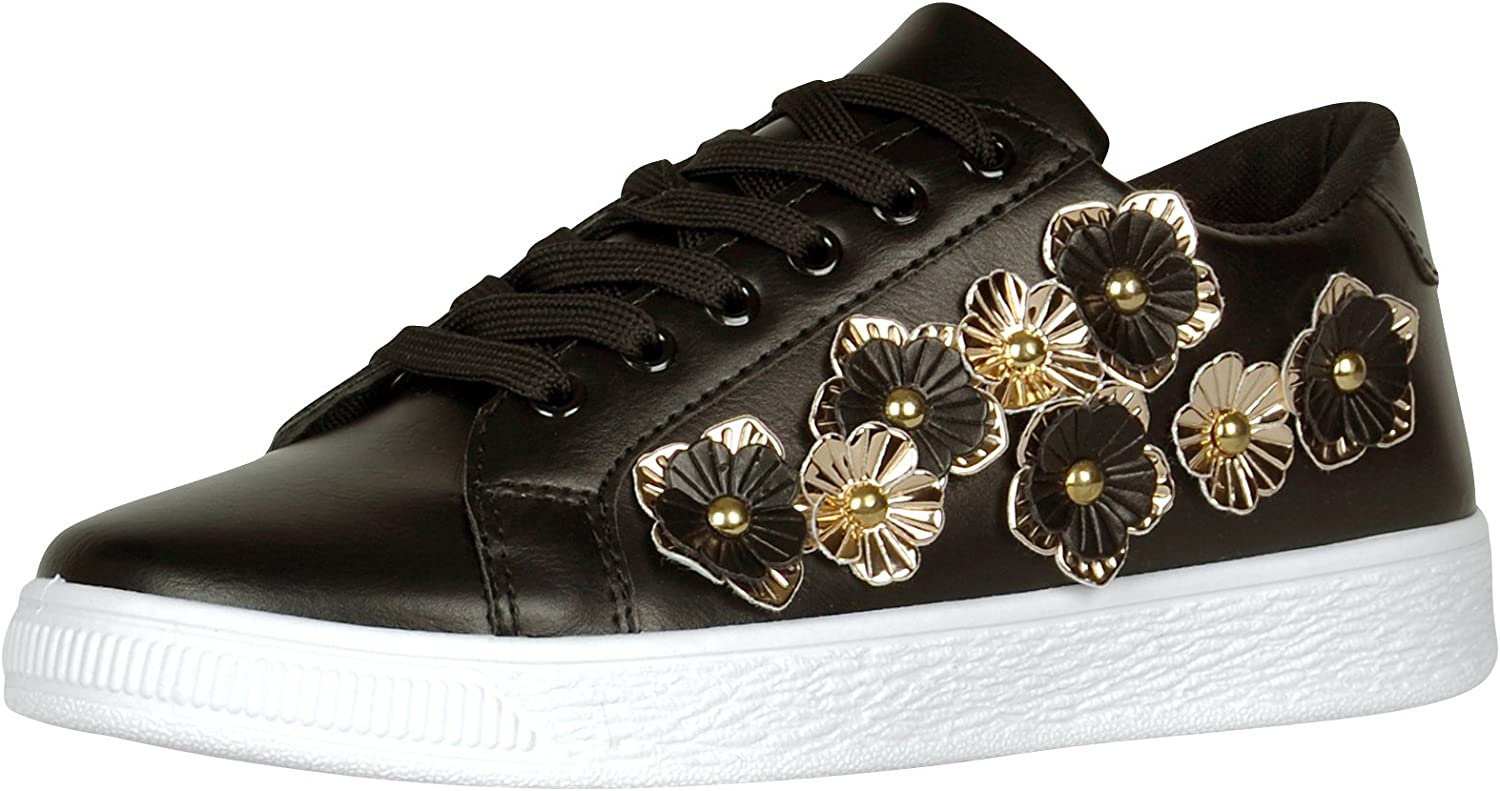 Cambridge Select Women's Closed Round Toe Lace-up 3D Flower Low Top Flatform Fashion Sneaker
