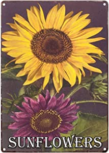 TISOSO Colorful Sunflower Vintage Metal Tin Sign Rustic Farmhouse Wall Home Decor for Living Room, Bedroom, Bathroom 8X12Inch