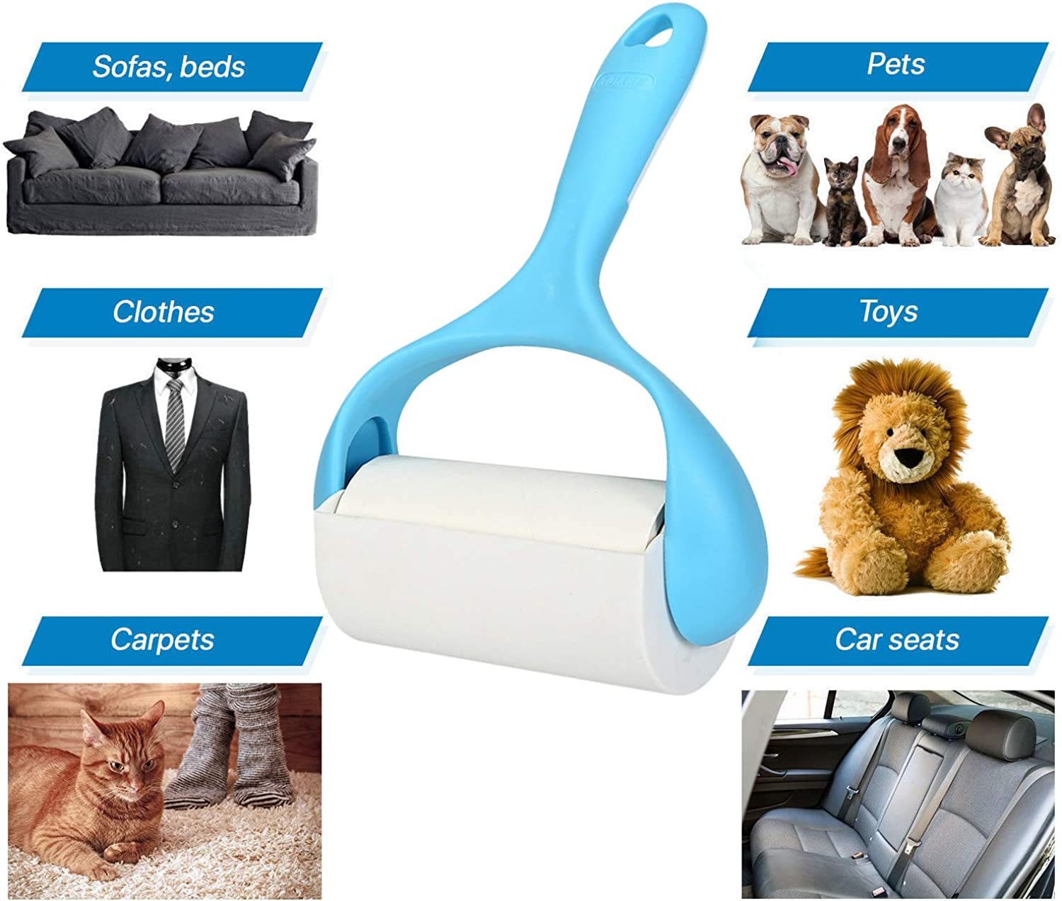 NTEX Pet Hair Remover Rollers Dog & Cat Lint Brush for Clothes,Carpet,Car Seats 1 Lint Roller Brush and 2 Refills 60 Sheets (bluee)