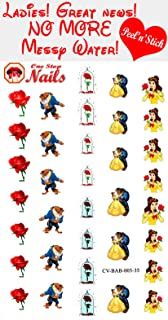 Beauty and the Beast clear vinyl Peel and Stick nail art decals (NOT Waterslide). Set of 35 by One Stop Nails CV-BAB-003-35.