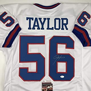 83868409834 Autographed/Signed Lawrence Taylor New York White Football Jersey JSA COA