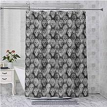 Aishare Store - Cortinas de ducha (175,3 x 177,8 cm, con ganchos, impermeable, color gris, negro y blanco