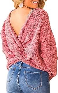 CILKOO Women'sCasualVNeckCrissCrossBacklessLongBatwingSleeveLooseKnittedSweaterTwist Knot Tops for Women Pullovers Pink US4-6 Small