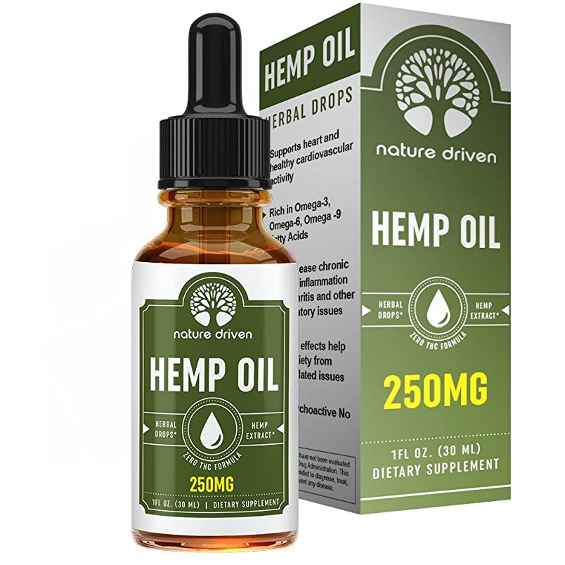 Hemp Oil Extract (250mg) - for Pain Relief and Anti-Anxiety Support - All-Natural Ingredients - Promotes Relaxation & General Good Health - 1 FL OZ per Bottle fc014914508