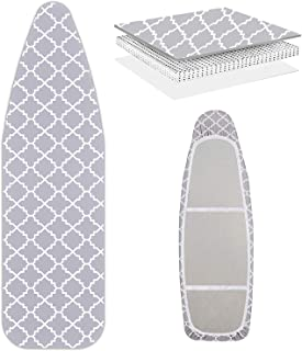 WISHOP Scorch Resistance Ironing Board Cover and Pad Resists Scorching and Staining with Elastic Edge Heavy Duty Thick Iro...