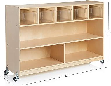 Guidecraft Wooden 5-Bin & Game Storage Unit: Bookshelf for Kids, Toy Storage Organizer, School Classroom Storage Cabinet