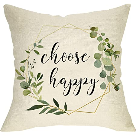 Aremetop Floral Quotes Decorative Pillow Covers Fresh Flowers Garland Inspirational Words Decorative Cotton Linen Throw Pillow Case Cushion Cover 18 X18 Wood Grain Background Choose Happy Home Kitchen