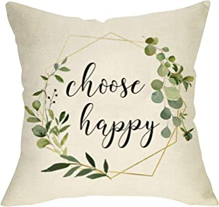 Fbcoo Choose Happy Decorative Throw Pillow Cover, Inspirational Quotes Cushion Case Olive Branch Farmhouse Decorations Home Sign, Summer Fall Square Pillowcase Decor for Sofa Couch 18x18 Cotton Linen
