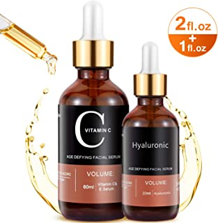 MayBeau Vitamin C Serum For Face and Eyes, Set Of 2 Anti-aging Facial Serum(3 fl.oz) With Hyaluronic Acid & Vit E- with Natural Ingredients for Acne Scars, Anti Wrinkle, Anti Aging, Fades Age Spots