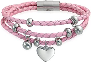 Pink Or White Stack Three Strand Braided Leather Dangling Heart Charms Bracelet for Women for Girlfriend Stainless Steel