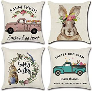 LIYACHAO Easter Pillow Covers 18x18 Inch Set of 4, Rabbit Bunny Throw Pillow Case Cushion Cover Happy Easter Spring Seaso...