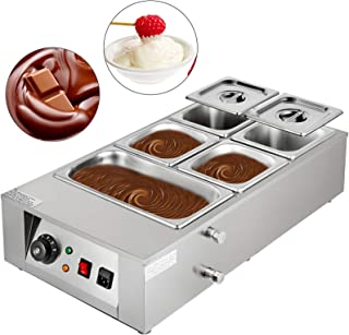 Happybuy 1000W Electric Chocolate Melting Pot Machine, 5 Tanks Commercial Electric Chocolate Heater,26.45LBS Capacity Thermal Insulation Heating Machine,for Chocolate Cheese Soup,32-176℉