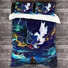 Cawkkj Tooth-Less Dragon Kids/Girl Bedding Set Soft Microfiber Twin Bed Comforter King Sheet 3 Piece One Size
