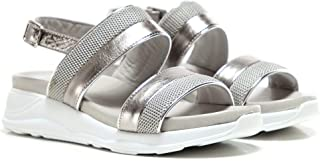 Inuovo Women's Leather Chunky Trainer Sandals Silver