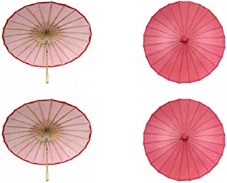 Koyal Wholesale 32-Inch Paper Parasol, 4-Pack Umbrella for Wedding, Bridesmaids, Party Favors, Summer Sun Shade (4, Red)