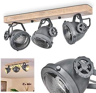 Plafonnier Herford en bois, verre & métal gris, 3 spots de plafond retro-industriels pivotants, luminaire idéal dans un sa...