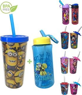 Disney Marvel Kids Tumbler with Lid with Reusable Straw and Bottle Set for Girls Boys Despicable Me Minion Double Walled Tumblers 16oz, Flip and Sip Water Bottles 14.5oz 2 Count BPA Free