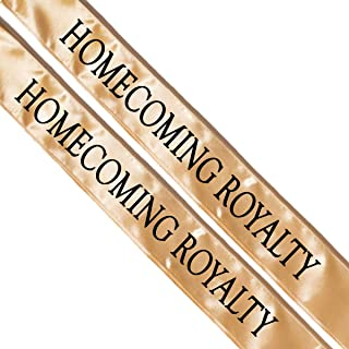 Homecoming Royalty Sashes, 2 Pack Gold Sash with Black Imprint 72 Inches x 3 Inches