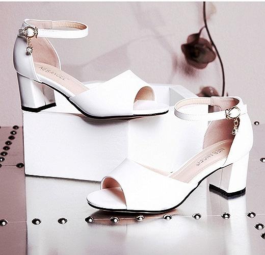 YTTY Rome épaisse avec Les Sandales De Les Les dames épaisse Chaussure à Moitié Assorcravate Blanc 36