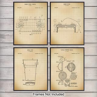 Beer Pong Wall Art Patent Print Set - Vintage Retro Home Decor for Man Cave, Den, Rec Room, Dorm Room, Playroom, Den - Perfect Gift for Graduation, College Students and Men