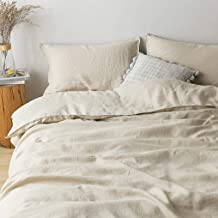 PANDATEX Natural French Linen Duvet Cover Set Washed Organic Flax Breathable Soft Comforter Cover Bedding Set, Natural Lin...