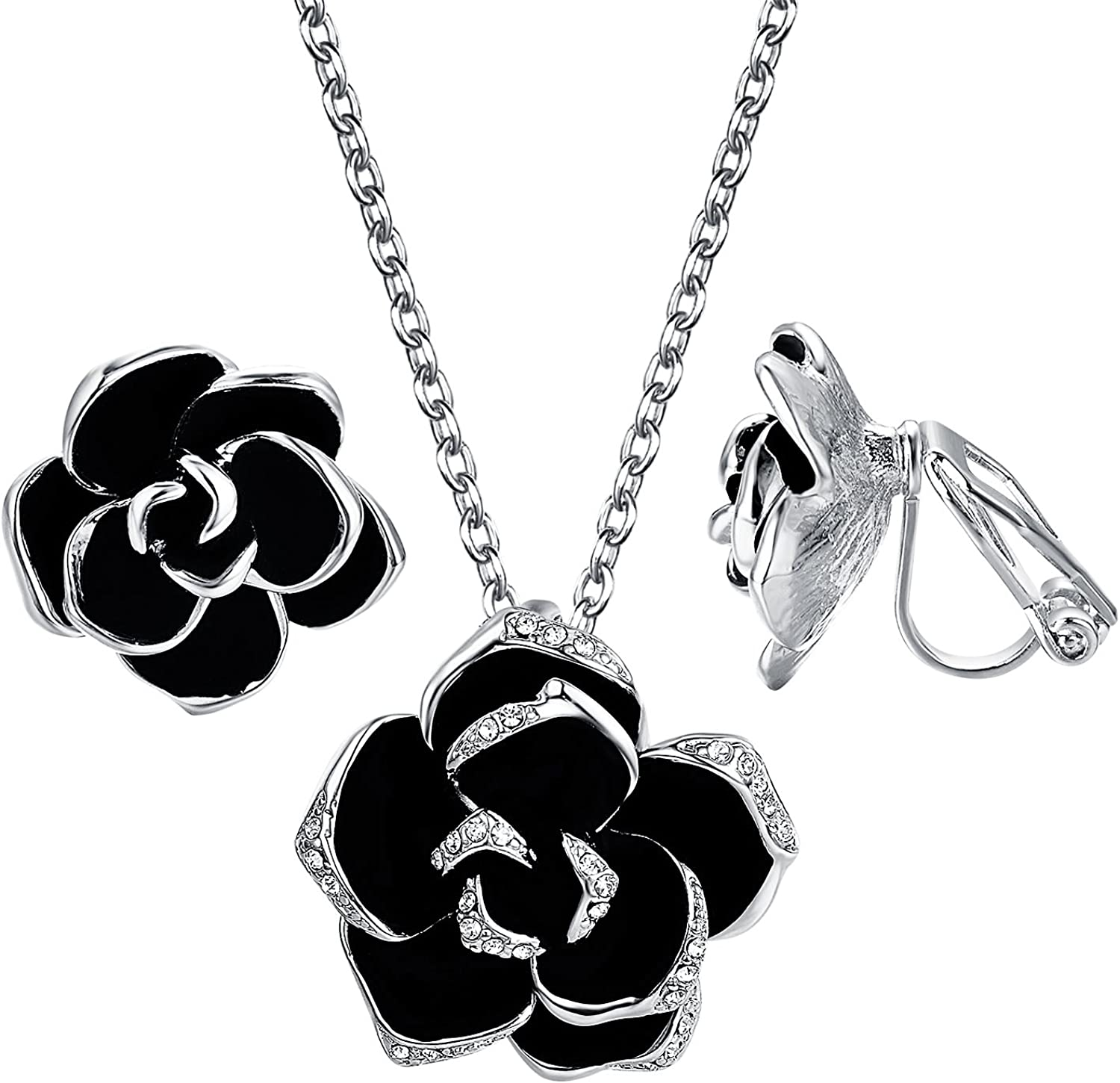 Yoursfs Flower Jewelry Set 18K Rose GP Sexy Flower Lacing with Rhinestones Clip Earrings&Necklace Ladies Jewelry Set