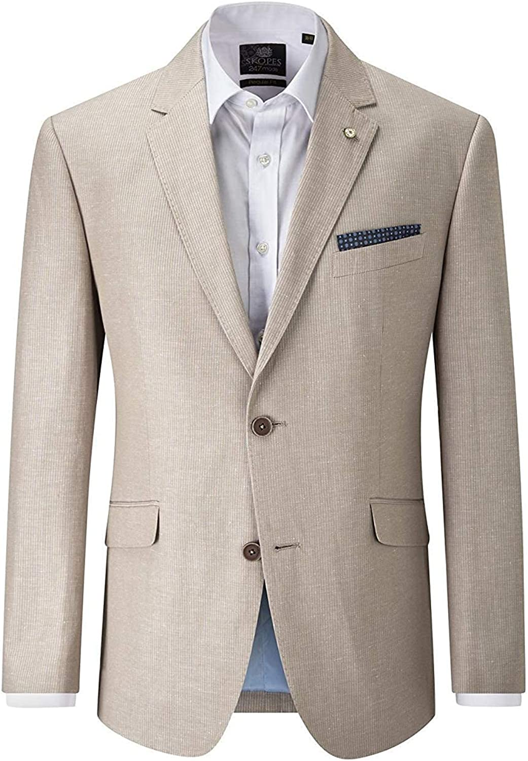 Skopes Linen Blend Striped Sports Jacket (Leon) in Stone in Chest 44 to 62 Inches, S/R/L