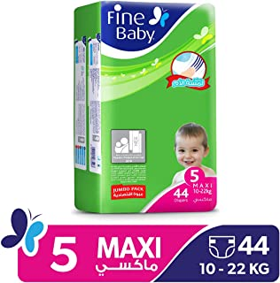 Fine Baby Diapers Green Fast Sorption, Maxi 11-18 Kgs, Jumbo Pack, 44 Count