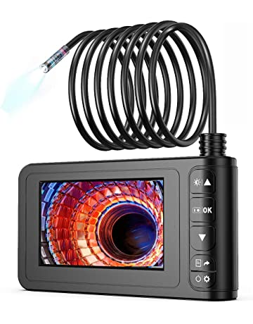 8mm Mini Lens Camera With 10 Meters Semi-Rigid Cable Vogvigo Industrial Endoscope,1080P HD IP67 Waterproof Borescope Inspection Camera with 4.3 Inch Display and 8 LEDs