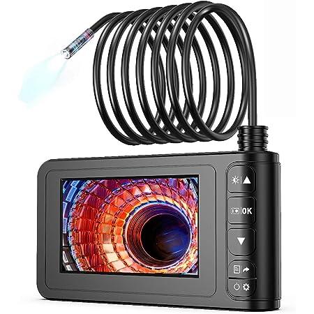 工業用内視鏡 SKYBASIC スコープカメラ スネークカメラ IP67防水8MMレンズ 1080P HDビデオ 4.3インチLCDスクリーン 6個LEDライト 車/設備の点検用カメラ 半剛性ケーブル(5M)