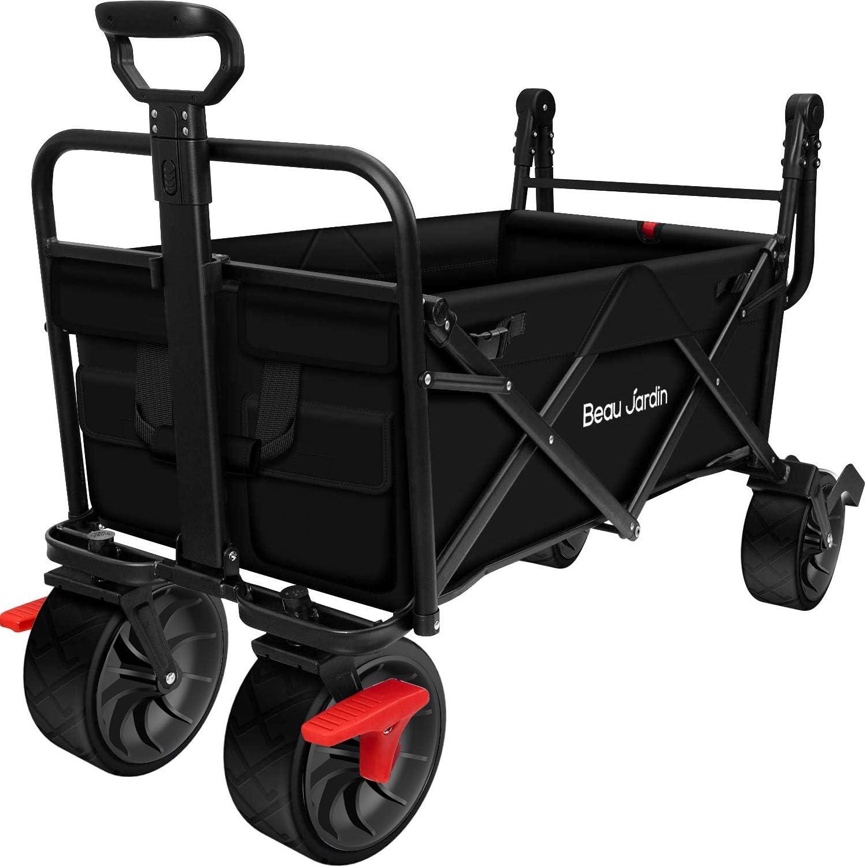 BEAU JARDIN Folding Wagon Cart Brake Ranking sale TOP13 Free Standing With Collapsi
