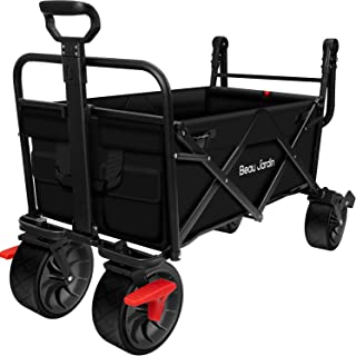 BEAU JARDIN Folding Wagon Cart With Brake Free Standing Collapsible Utility Camping Grocery Canvas Fabric Sturdy Portable ...