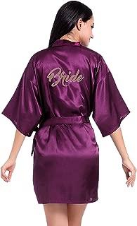 FEOYA Bride Satin Kimono Robe 3/4 Sleeve Loungewear Sleepwear Soft Pajamas Nightwear for Wedding Party