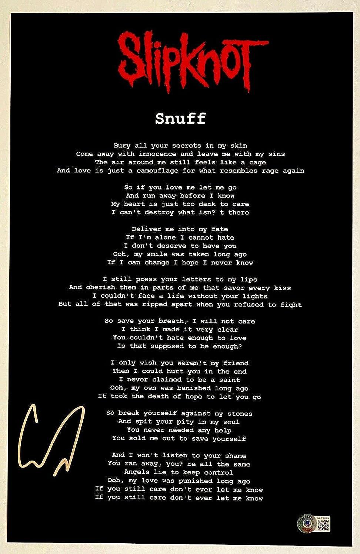 Corey Taylor Signed High quality Slipknot Snuff 11x17 Lyrics sale Poster Phot Song