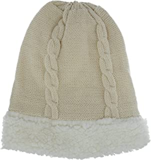 Grand Sierra Women's Cable Knit Sherpa Lined Beanie Hat