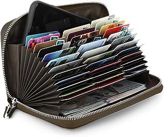 Luxspire RFID Secure 36 Slots Credit Card Holder Premium Genuine Leather Large Wallet Purse for Men Women Zipper Multi Card