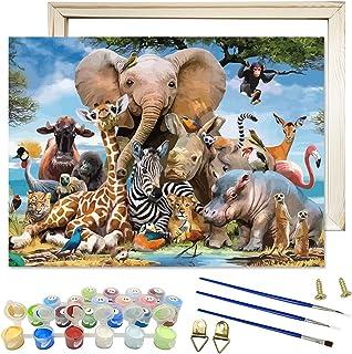 Peinture Numero Adulte, Zoo Animaux DIY Peinture à l'huile de Bricolage Kits pour Adulte Enfant Débutant Peindre par Nombr...