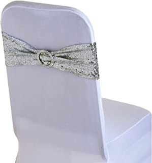 WedDecor 108 X 7 Pouces Spandex Sequin Chaise Bandes Doré avec Rond Boucle Slider Écharpes Nœud pour Mariage Fête Housses ...