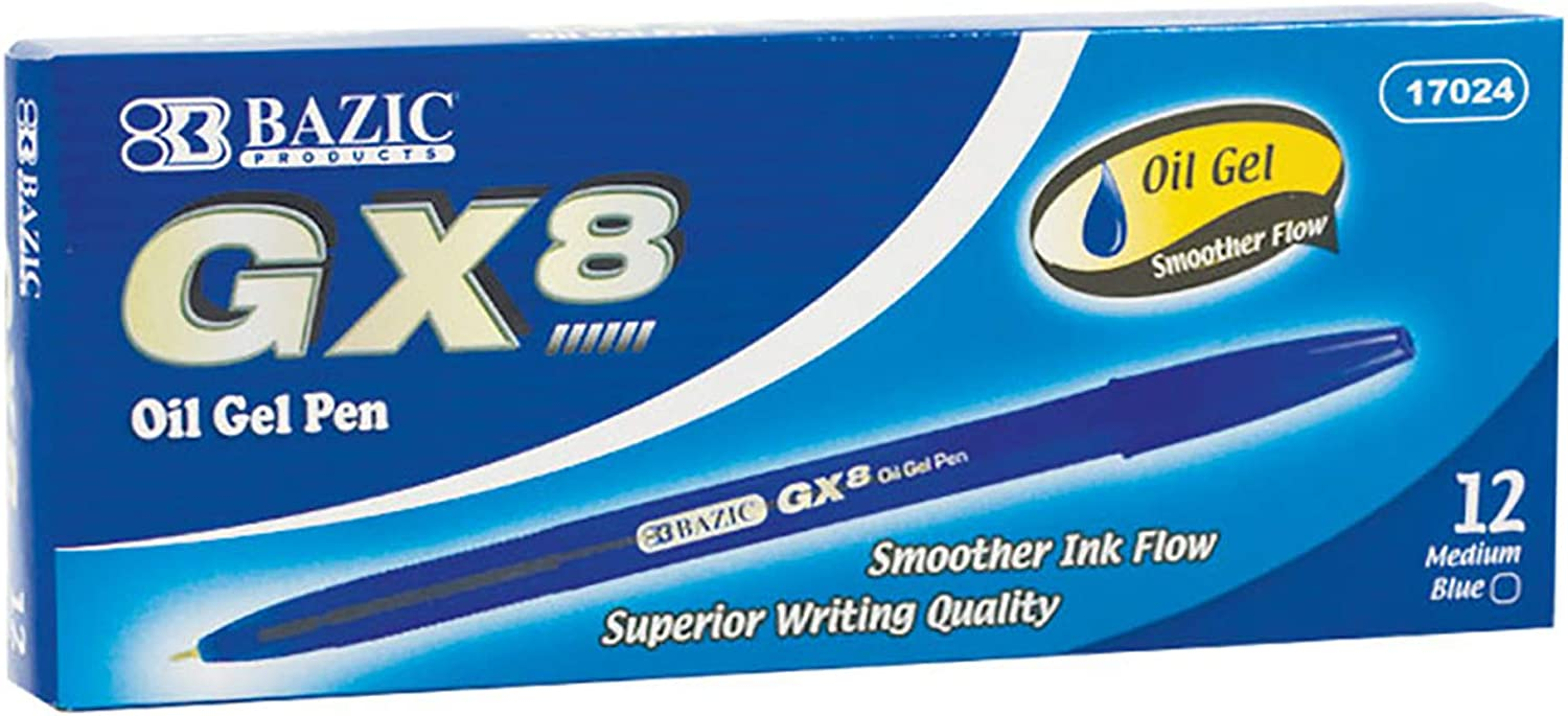 BAZIC Oil Gel Ink Pen GX-8 Blue Smoo Max 63% OFF mm New product! New type Medium Point 0.7 Color