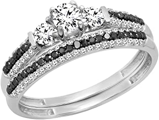 Dazzlingrock Collection 10K Gold White Sapphire, Black & White Diamond 3 Stone Bridal Engagement Ring Set