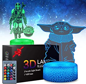 2 Patterns Star Wars Yoda 3D Anime Lamp - Yoda Toys LED Night Light for Kids Room Decor, 16 Color Change with Remote Timer, Boys Girls Birthday Gifts